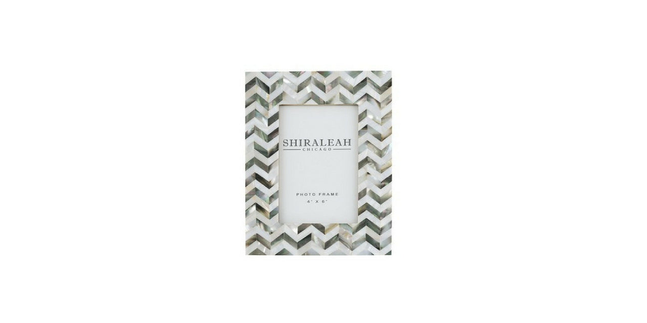 Gray & White Picture Frame with Chevron Pattern