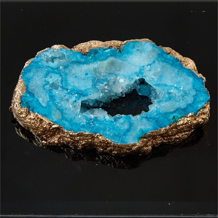 Black Glass Edged Box with Geode Accent Hinge in Aqua