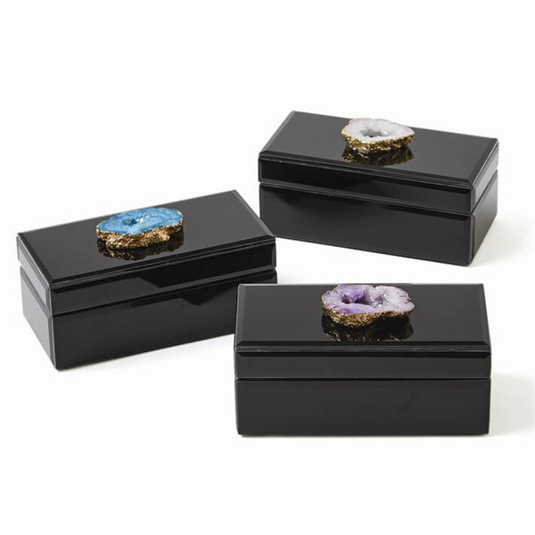 Black Glass Edged Box with Geode Accent Hinge in Aqua, Purple or Clear