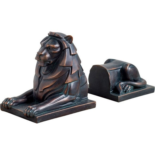 Lion Book End Copper Black