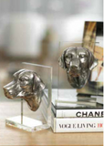 Silver Dog Acrylic Book Ends Table View