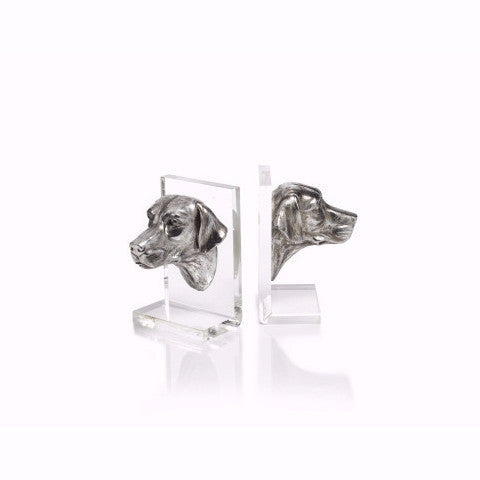 Silver Dog Acrylic Book Ends
