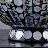 Circles Lacquered Round Bowl Inlaid With Mother of Pearl