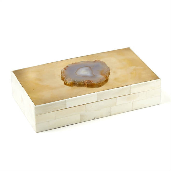 Metropolis Bone Box Topped with Brass & Genuine Agate
