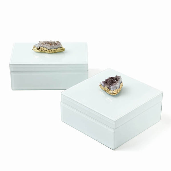 White Edged Glass with Amethyst Geode Accent Decorative Box