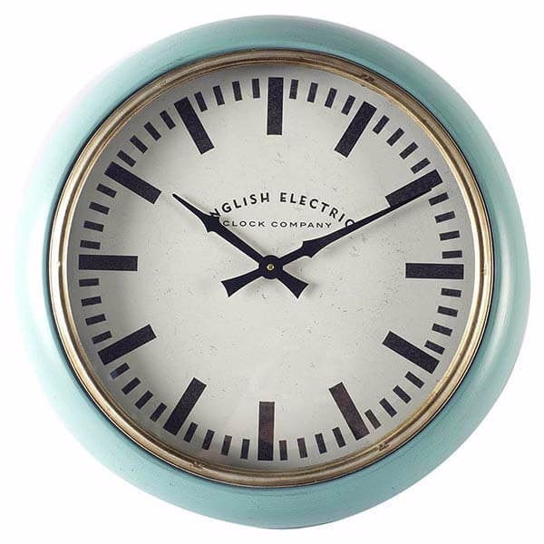 Light Blue Wall Clock With White Face