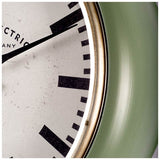 Olive Green Wall Clock With White Face