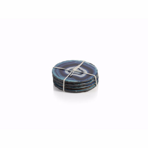Blue Faux Agate Pattern Coasters