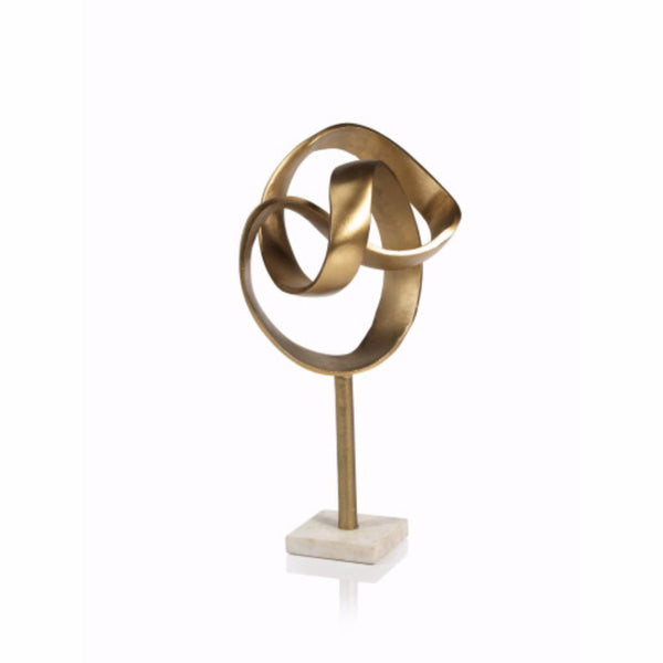 Decorative Gold Swirl Sculpture with Marble Base
