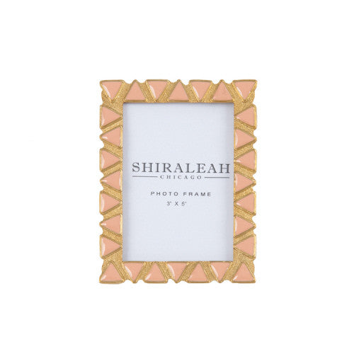 Gold 3x5 Picture Frame with Pink Triangles