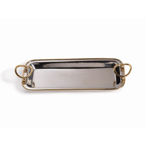 Polished Nickel Tray with Gold Handles