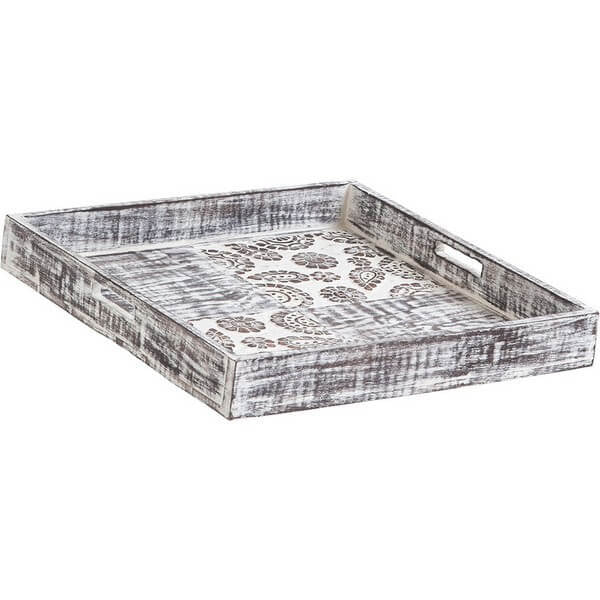 Rustic Wooden Tray with Floral Pattern