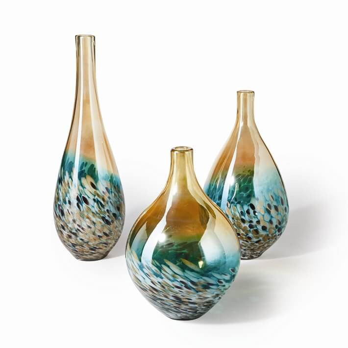 Hand Blown Teardrop Lustrous Vases in Turquoise & Amber
