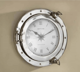 Silver and White Porthole Wall Clock