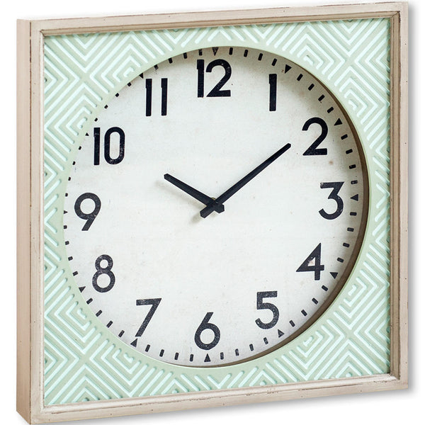 Sea Foam Green Square Wall Clock With White Face