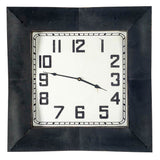 Square Shaped Wall Clock With Black Metal Frame