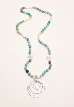 Amazonite Stone and Silver Ring Necklace