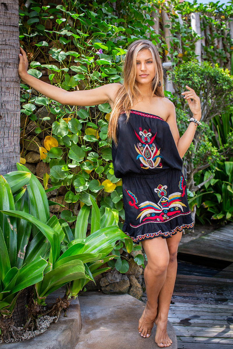 Bali Queen, Coco Rose, Resort Wear, Pool Wear, Bathing suit coverup, summer, summer style, block print, bali, travel, boho style, strapless dress, tube dress, embroidery