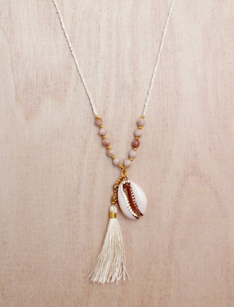 Gold Cowrie Tassel Necklace