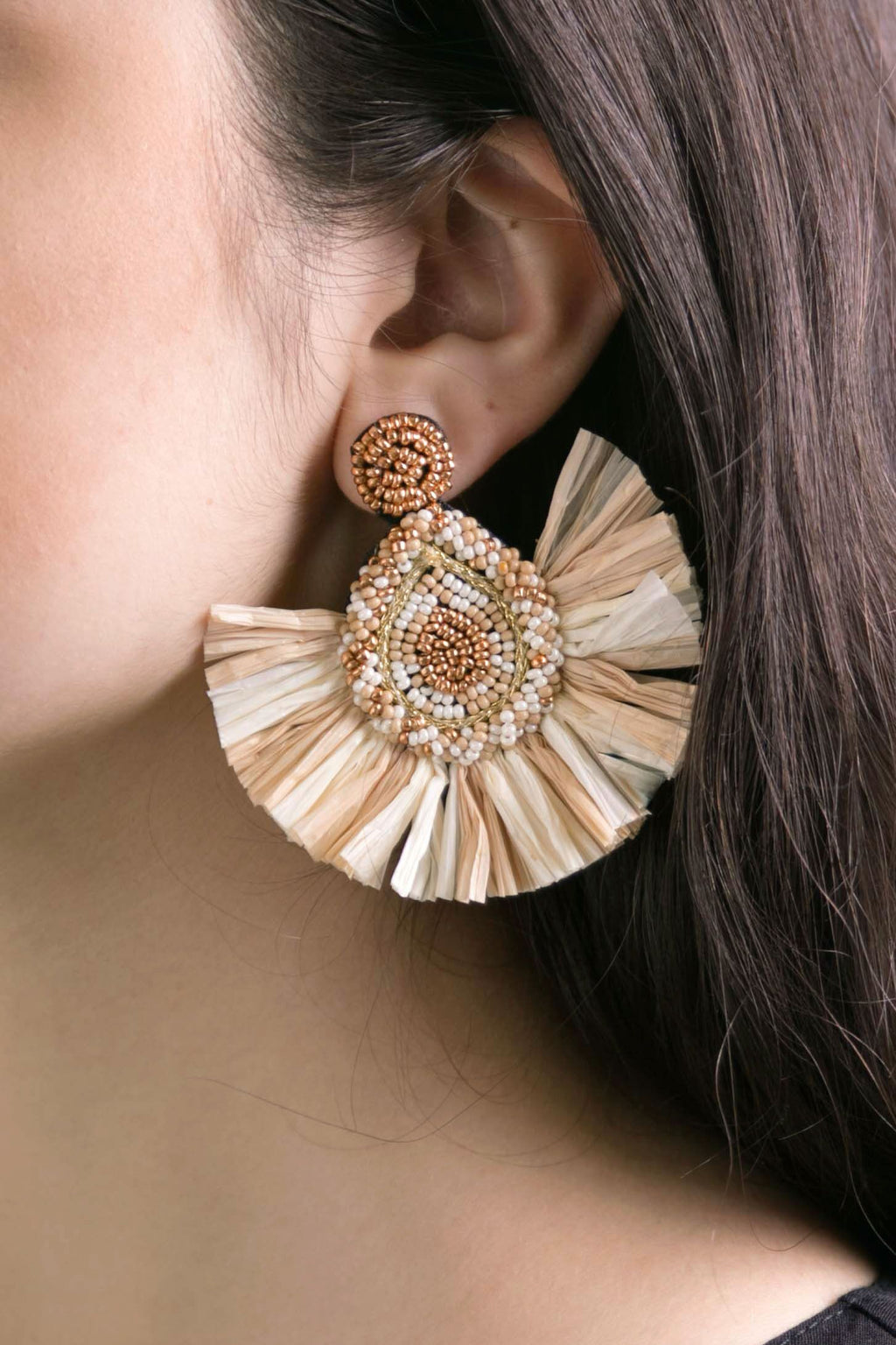 Raffia Beaded Fan Earring