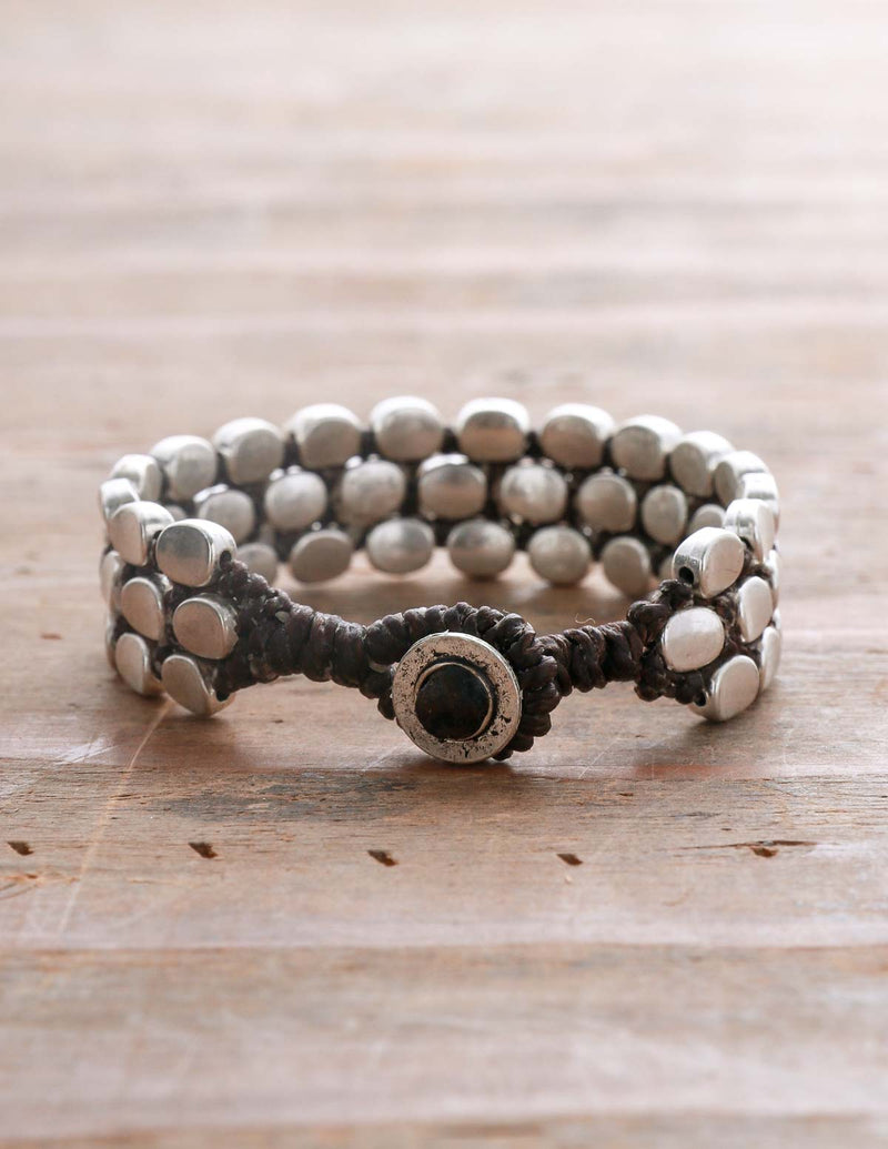 Three Row Oval Alloy Bracelet