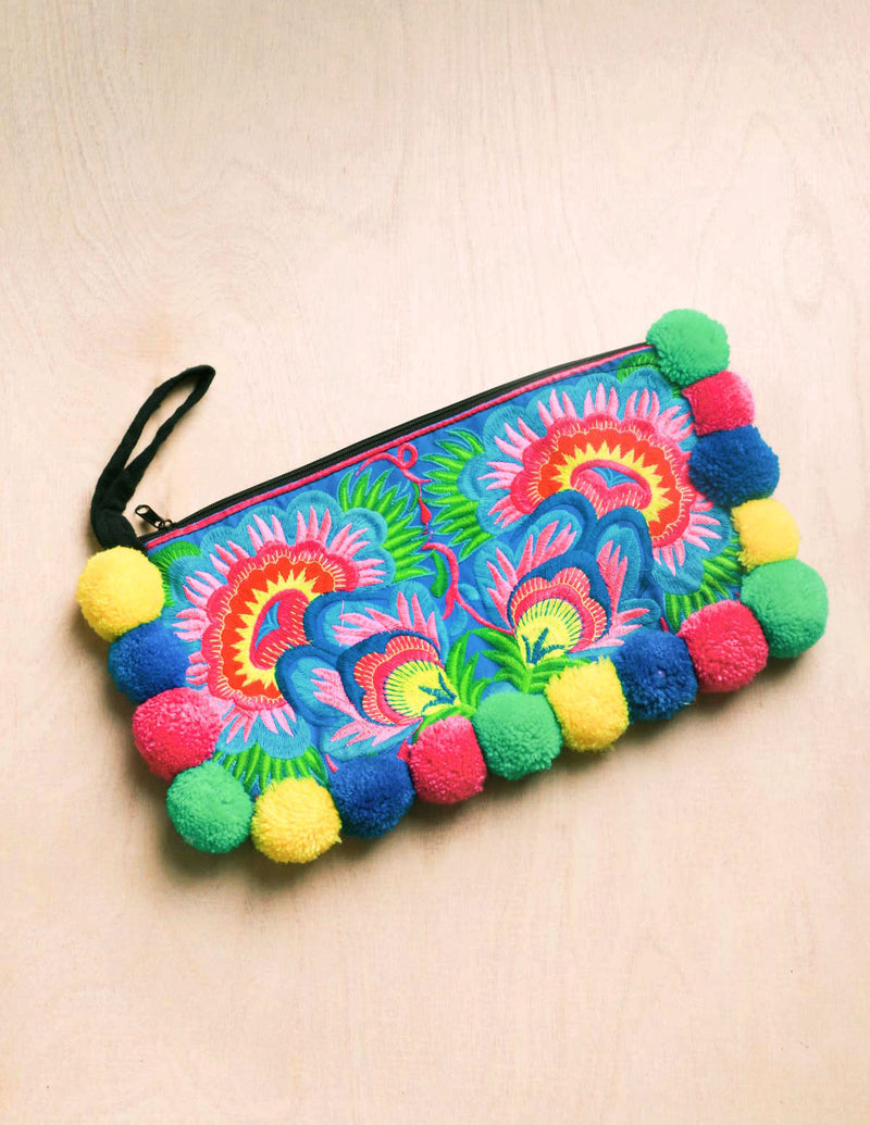 pom pom, pom pom clutch, tassel, boho, Mexican, boho, purse accessories, bright colors, bali queen, coco rose, accessories