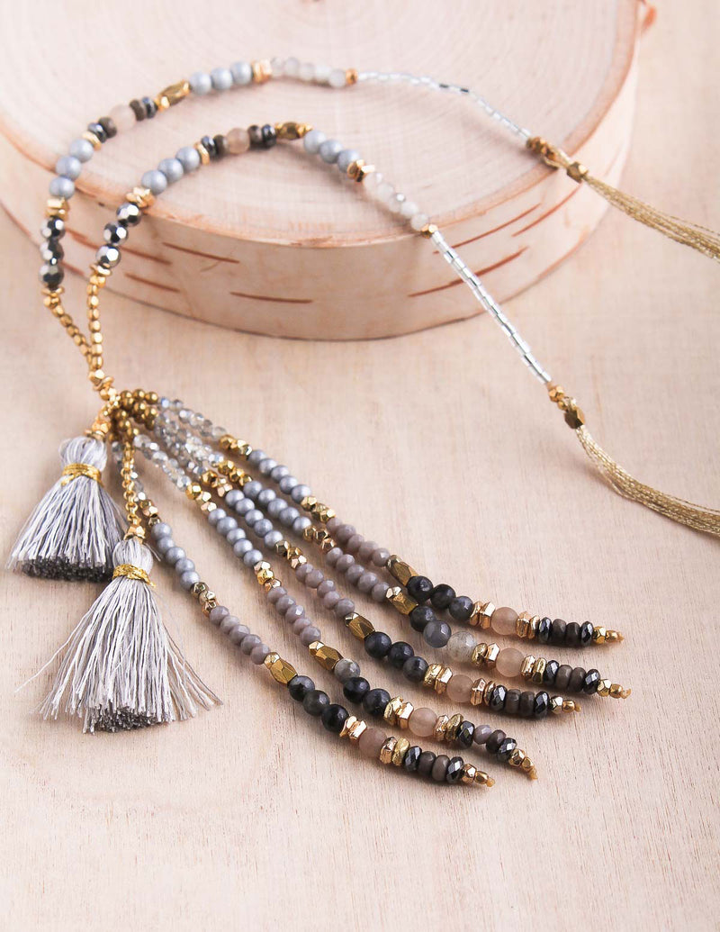 Crystal Tassel Thai Necklace