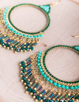 Thai Sparkle Beaded Hoops