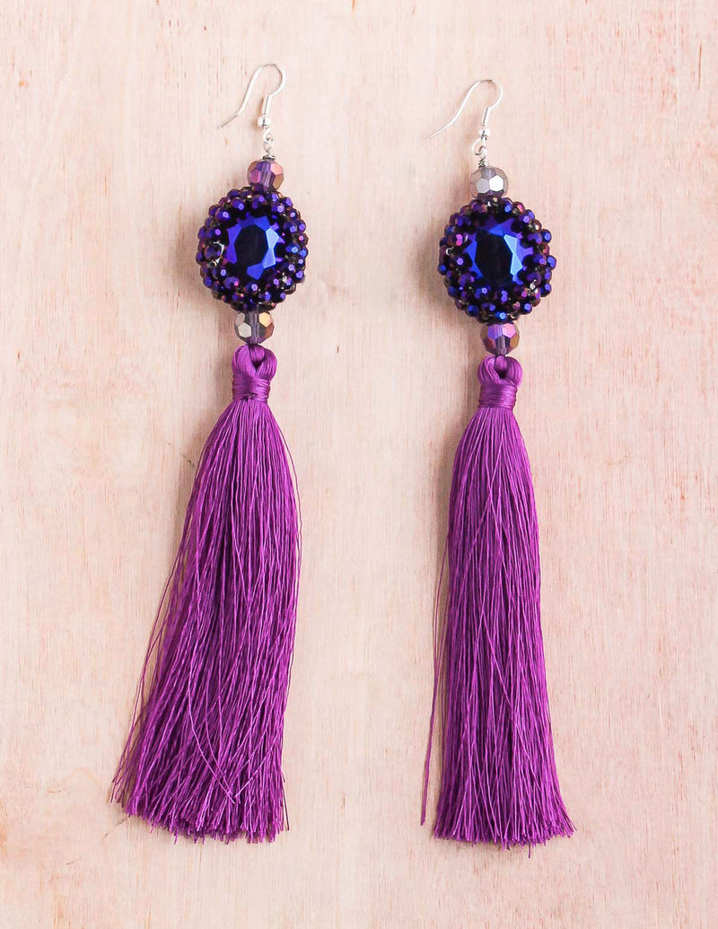 Thai tassel, shoulder duster earring, tassel earrings, night out earring, crystal beads, bali queen, coco rose