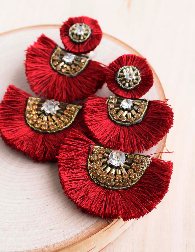 navajo earring, statement earring, beaded earring, fan earring, bali, bali queen, coco rose, raja