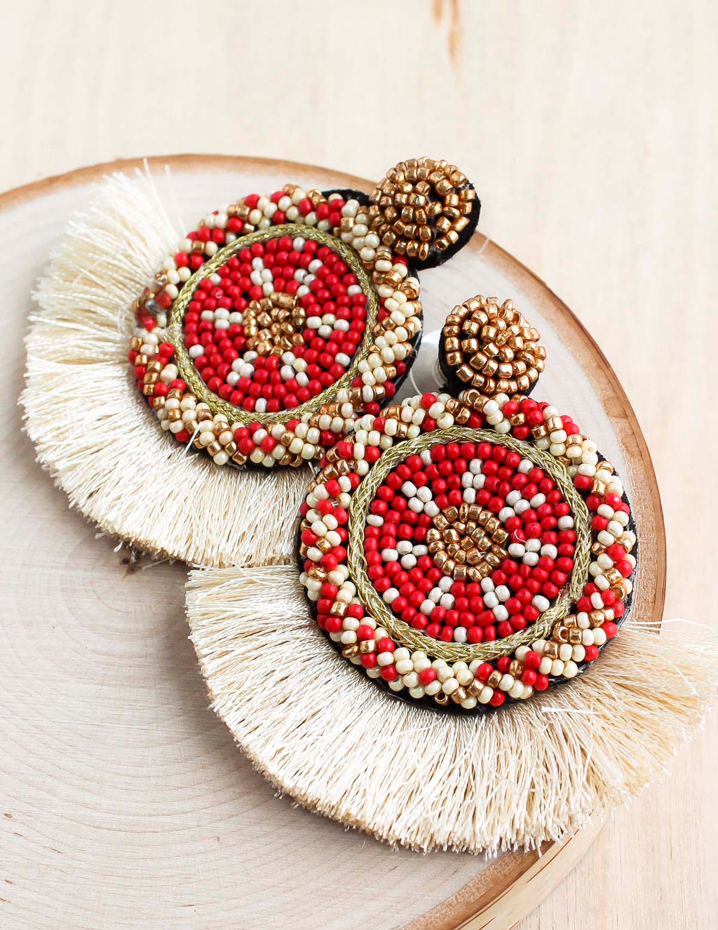 Navi Beaded Fan Earrings