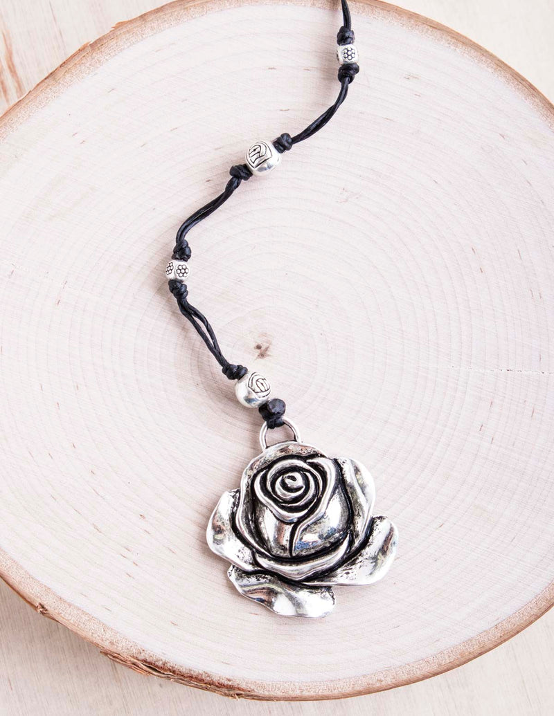 alloy, bali queen, coco rose, silver, rhodium, hypoallergenic, tribal jewelry, rose, flower necklace