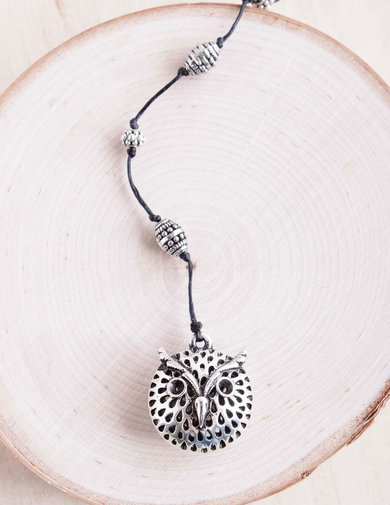 alloy, bali queen, coco rose, silver, rhodium, hypoallergenic, tribal jewelry, owl, owl necklace, happy owl