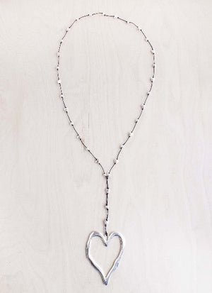 alloy, bali queen, coco rose, silver, rhodium, hypoallergenic, open heart, heart necklace