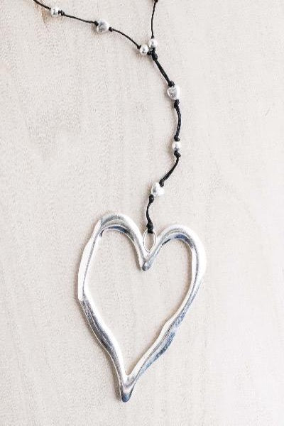 silver open heart, silver heart necklace, big heart necklace, artisan heart necklace, hammered heart necklace, long heart silver necklace, hypo allergenic necklace,