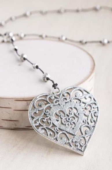 filigree heart, filigree,  alloy, bali queen, coco rose, silver, rhodium, hypoallergenic, tribal jewelry