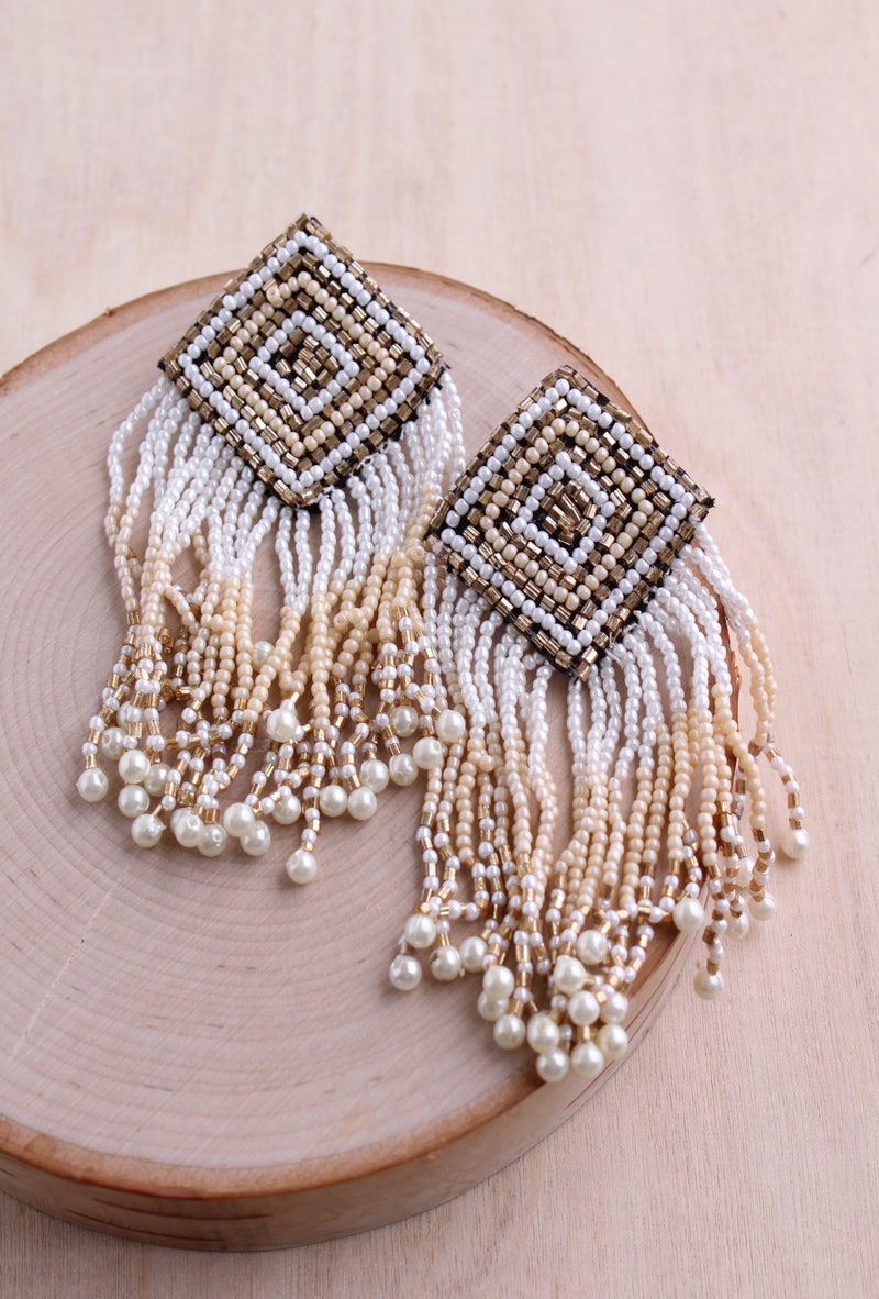 beaded earrings, embellished, geometric earring, crystal beads, pearls, bali queen, boho, coco rose