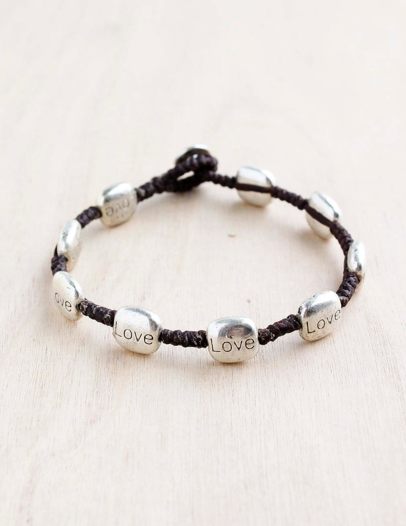 alloy, bali queen, coco rose, silver, rhodium, hypoallergenic, tribal jewelry, single strand, love, engraved love