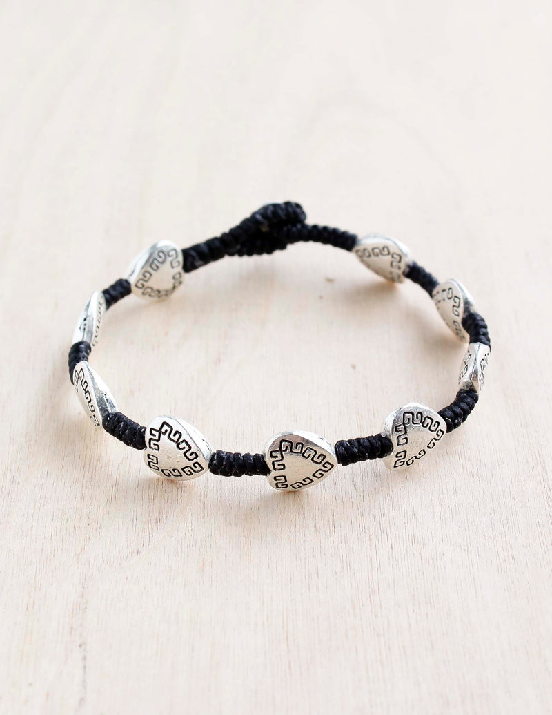 Etched Heart Alloy Bracelet