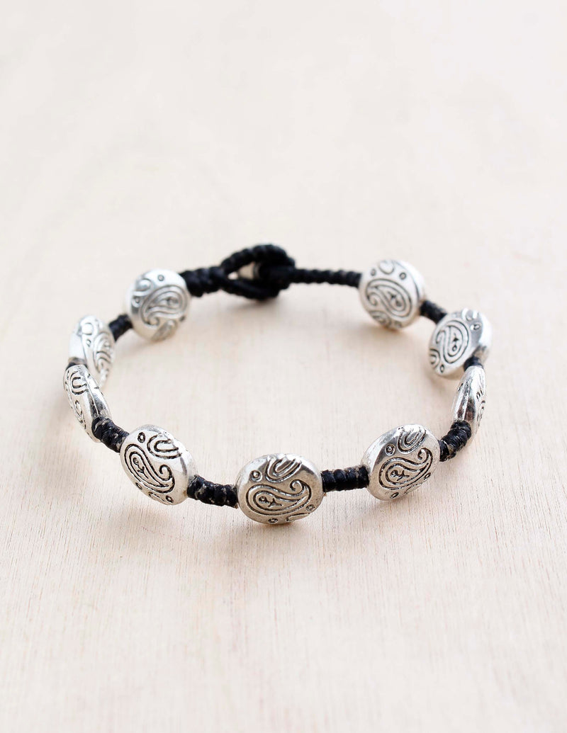 alloy, bali queen, coco rose, silver, rhodium, hypoallergenic, tribal jewelry, single strand. paisley
