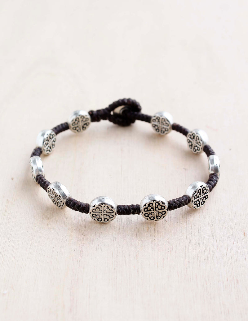 alloy, bali queen, coco rose, silver, rhodium, hypoallergenic, tribal jewelry, single strand, four leaf clover