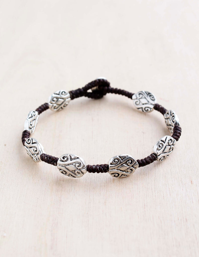 Etched Oval Alloy Bracelet