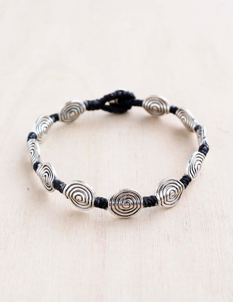 swirls, spirals,  alloy, bali queen, coco rose, silver, rhodium, hypoallergenic, tribal jewelry, single strand