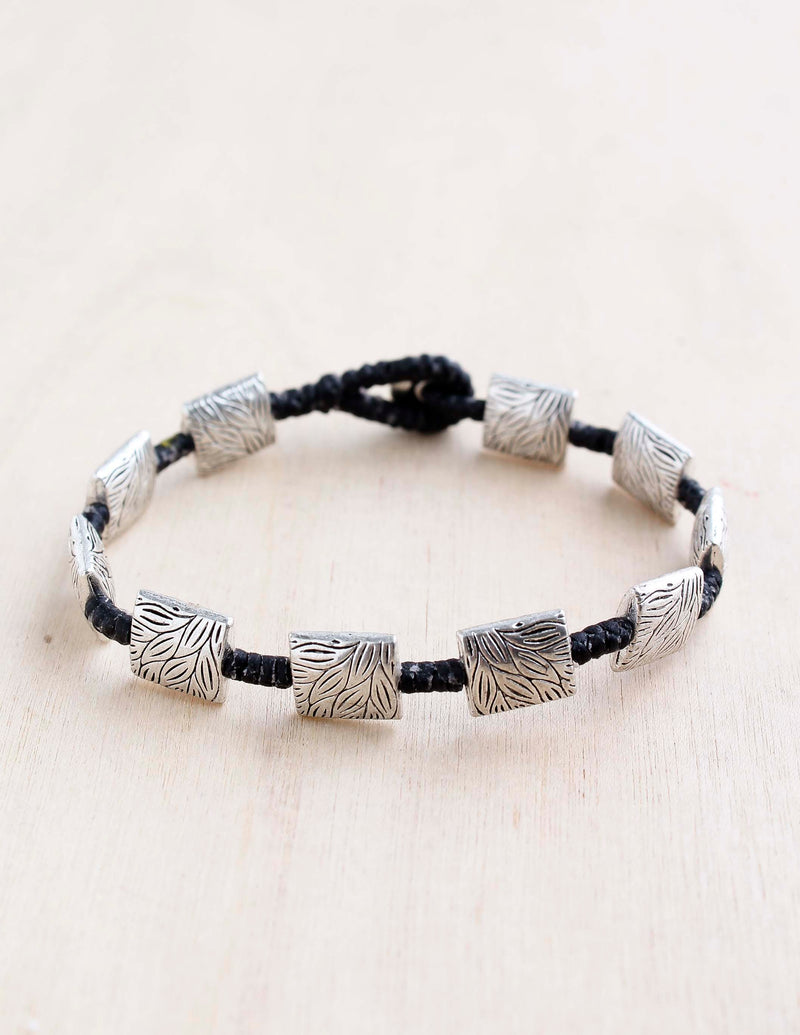Square Etched Leaves Alloy Bracelet