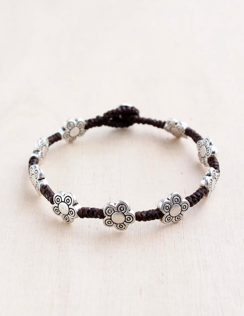 alloy, bali queen, coco rose, silver, rhodium, hypoallergenic, tribal jewelry, single strand, flower, paisley