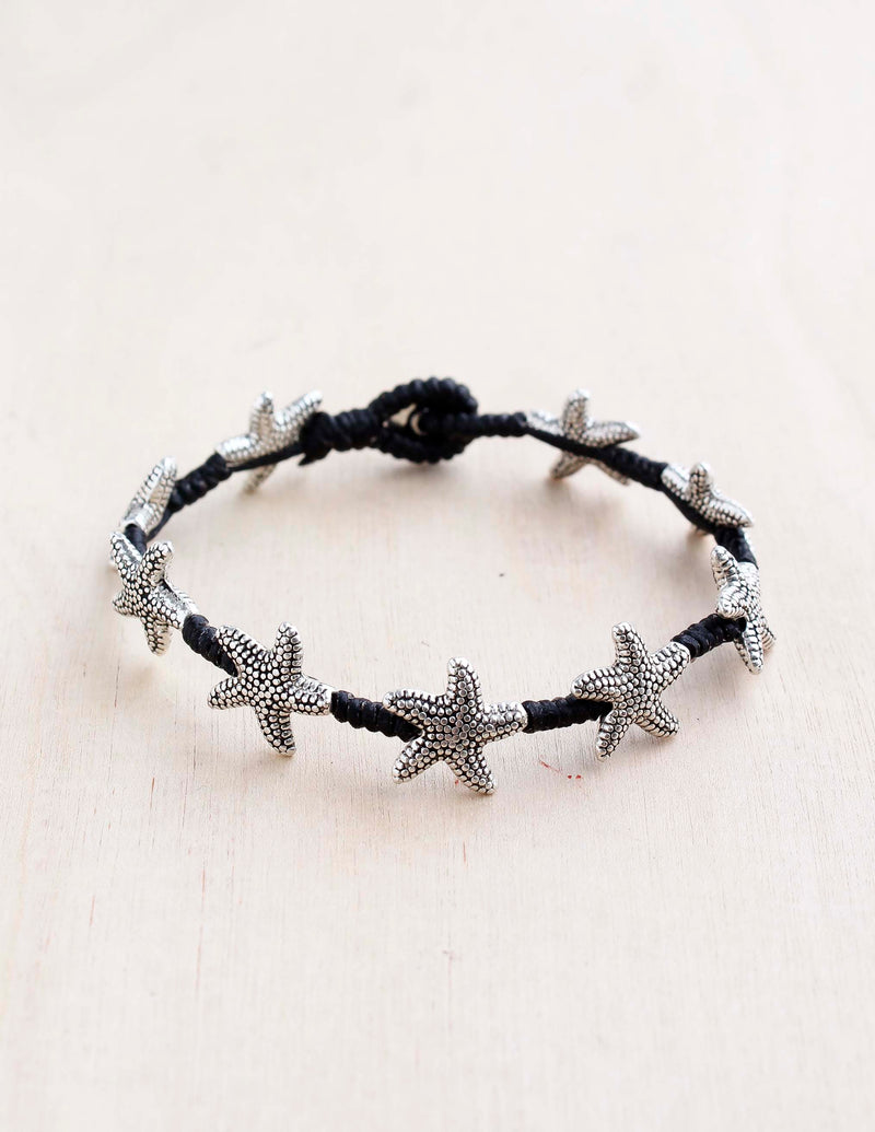 alloy, bali queen, coco rose, silver, rhodium, hypoallergenic, tribal jewelry, single strand, nautical, starfish, sealife