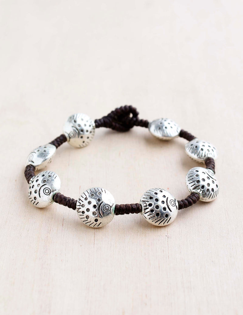alloy, bali queen, coco rose, silver, rhodium, hypoallergenic, tribal jewelry, single strand, puffer fish, nautical, sealife