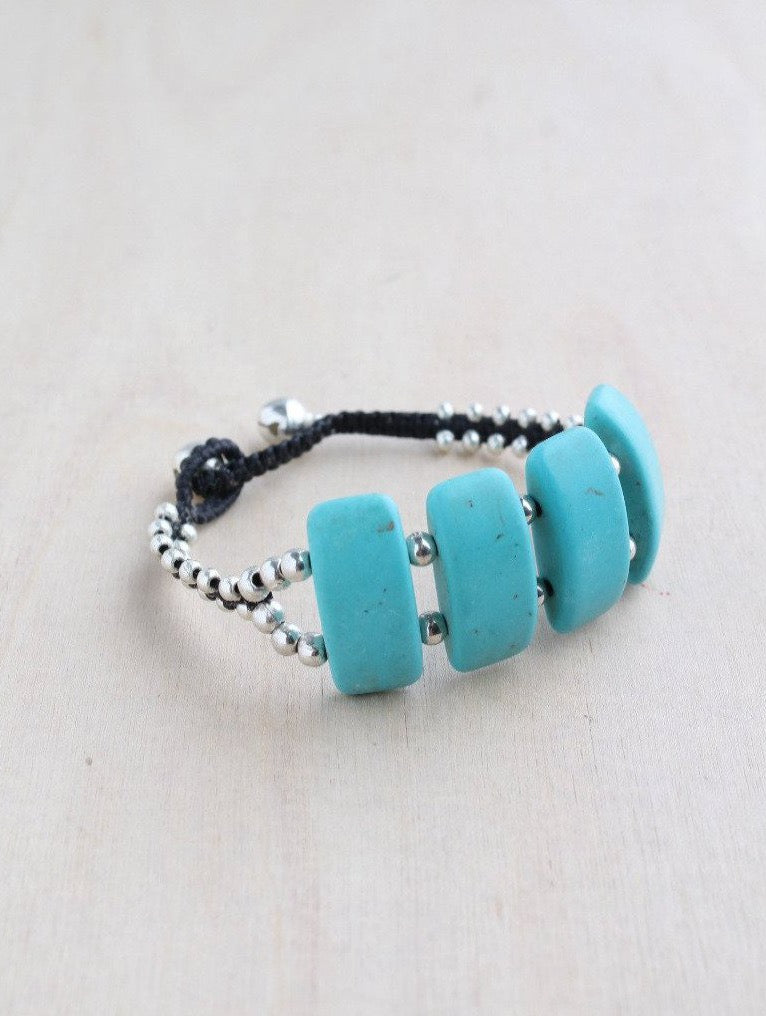 alloy, bali queen, coco rose, silver, rhodium, hypoallergenic, tribal jewelry, single strand, turquoise