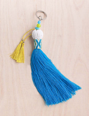 key chain, pom pom, pom pom keychain, tassel, boho, beaded keychain, boho, purse accessories, bali queen, coco rose, accessories