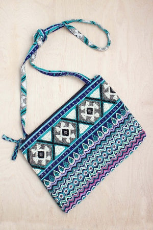crossbody, India, sequins, aztec, navy, boho, bali queen, coco rose, beads